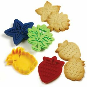 Norpro Two Sided Cookie Cutters. Set of 4, Strawberry, Pineapple, Star & Leaf