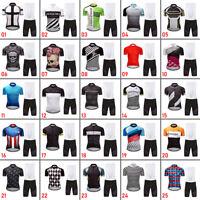 DKGEMN Men's Cycling Jersey Bib Shorts Set Shirt Padded Pants Bike Clothing Kits
