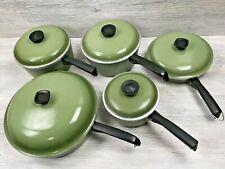 Vintage Club Avocado Green Aluminum Cookware Pots & Pans w/ Lids 10 Pc