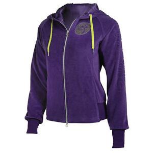 Authentic Zumba UK Gleam Velour Zip-Up Hoodie Jacket  ~  Purple ~ XS ~ NWT