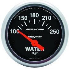 "Auto Meter Sport-Comp Electric Water Temperature 100-250 F Gauge 2-1/16"" (52mm)"
