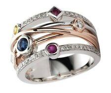1Ct Round Ruby Sapphire Simlnt Diamond Bezel Statement Ring Rose Gold Fns Silver