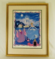 Limited Disney Cinderella Lithograph #510/2500 w/ Film Cel Master Print