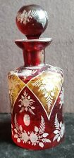Red, Amber  Cut to Clear Antique Cologne Bottle