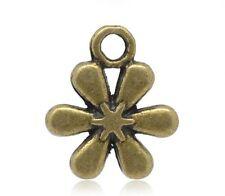 Lot 5 Pendentif Fleur Bronze 13mm x 11mm Breloques Charms Pendentifs