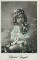 1900's VINTAGE REAL PHOTO GORGEOUS YOUNG GIRL in PEARL HEADDRESS POSTCARD - USED