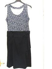 KOOKAI dress - faux two piece size 40 (UK 12) navy blue/white/floral-sleeveless