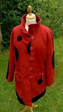 ZZ Coline red & black cord quilted 3/4 coat size XL  (LB30)