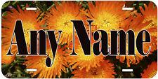 Personalized Orange Pigface Flower Aluminum Novelty License Plate