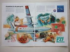 1981 PUB FOKKER AIRCRAFT HOLLAND F27 MARITIME PATROL AIRCRAFT ORIGINAL FRENCH AD