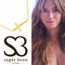 Sugar Bean Jewelry Off Center Cross Necklace in 14k Gold Plate