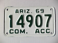 "unused 1969 ARIZONA COM. ACC ""NOS"" New Old Stock, license plate tag # 14907"
