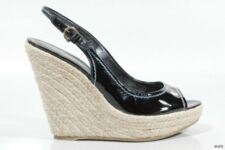 SERGIO ROSSI open-toe black patent espadrille WEDGES shoes 39 US 9