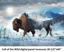 "Call of Wild Digital Panel cotton quilt fabric Hoffman 30-1/2""x44 Buffalo Bison"