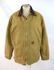 CARHARTT Heavy Tan Brown Canvas Fleece Lined Hooded Work Chore Jacket Coat Men M