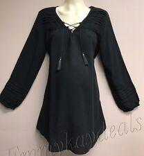 New Liz Lange Maternity Pregnancy long Sleeve Boho top crochet black Size XS