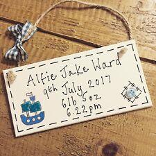 Personalised Gift Birth Boy Christening Baby Keepsake Plaque Name Boat Present