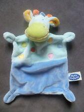 Doudou MOTS D ENFANTS vache cheval âne zèbre plat 4 noeuds bleu turquoise pois