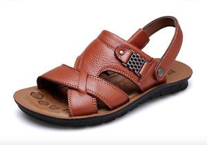 Big size Men Leather Summer Sandals Soft Comfortable Outdoor Walking Shoes