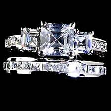 PYRAMID CUT_3-STONE_CLEAR CZ WEDDING SET__ SZ-6___925 STERLING SILVER - NF