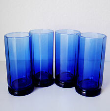 Set Of 4 Anchor Hocking Cobalt Blue Glass Essex Tumblers cups