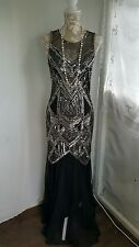 Vtg 1920,s style Downton Gatsby black deco beaded flapper wedding dress size 12
