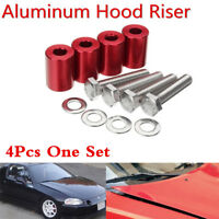 Aluminum 4Pc Car Red Hood Risers Hood Vent Spacers Kit For 8mm Bolt Turbo Engine