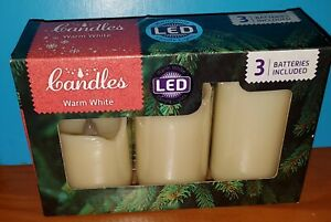 Christmas LED Candles x 3 With Batteries White Great For Christmas New In Box