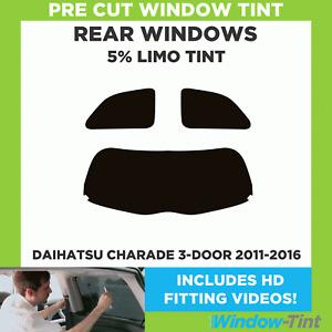 Pre Cut Window Tint - Daihatsu Charade 3-door 2011-2016 - 5% Limo Rear