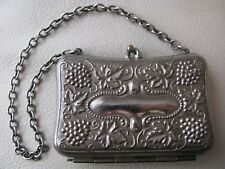 Antique Victorian Art Nouveau Grape Vine Silver T Card Case Child Coin Purse