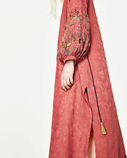 ZARA XS S  LONG EMBROIDERED KIMONO KAFTAN DRESS VYSHYVANKA KLEID JACKE STICKEREI
