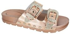 LADIES WOMENS STUDDED BUCKLE SLIP ON MULE SUMMER SLIDERS SANDALS SHOES SIZE 3-8