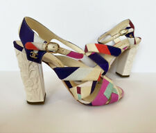 NIB  $900 16C CHANEL SCULPTED HIGH HEEL MULTI COLOR STRAPPY SANDALS 38.5