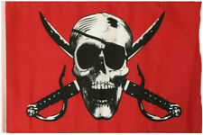 "12x18 12""x18"" Jolly Roger Pirate Crimson Sleeve Flag Boat Car Garden"