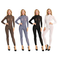 Long Sleeve Open Crotch Jumpsuit Women Lingerie Sheer Bodysuit Zipper Nightwear