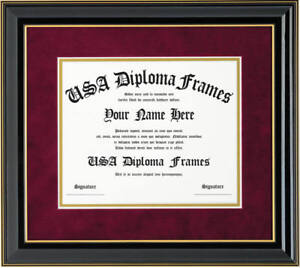 Honors Black with Gold Trim Glossy Diploma Frame