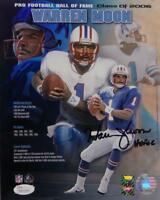 Warren Moon HOF Signed Oilers 8x10 Hall of Fame Poster PF Photo- JSA W Auth