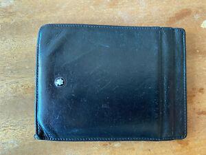 Montblanc black leather card holder case