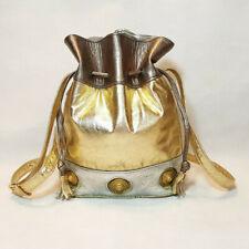 Viva of California Drawstring Purse Metallic Pewter Silver Gold Leather Brass