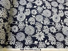 SUMMER GARDEN ++ NAVY ++ COTTON PRINT FABRIC by ROSE & HUBBLE