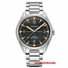 41mm corgeut black dial sapphire glass steel case sea-gull Automatic mens Watch