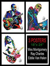 3 Posters Wes Montgomery Ray Charles Eddie Van Halen Music Print Wall Art 18x24