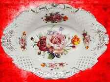 PorzellanSchale Teller Anbietschale Rosenmuster Durchbrucharbeit Oval Antikdeko