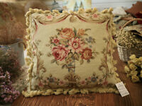 "16"" VTG French Victorian Beautiful Roses Drape Floral Needlepoint Throw Pillow"