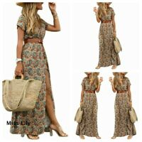 Cosy Beach Vintage  Long Plus size Sundress Womens Ladies Belted Maxi Boho Dress