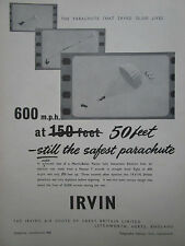1/1955 PUB IRVING IRVIN PARACHUTE 50 FEET EJECTION MARTIN BAKER METEOR AD