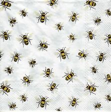 4x Designer PAPER NAPKINS for Decoupage LOVELY BEES WHITE