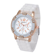 Women White Rose Gold Chronograph Silicone with Crystal Rhinestones Watch New