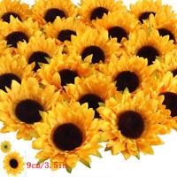24/48/120pcs Artificial Flower Silk Sunflower Head Wedding Holding Flower Decor