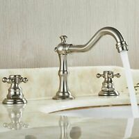Deck Mount Bathroom Sink Mixer Tap Waterfall Spout Tub Faucet Brushed Mixer Tap